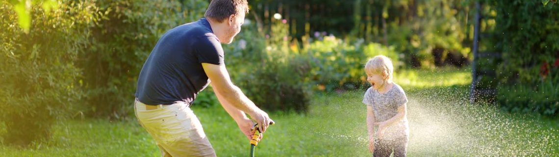 For men prostate problems man playing with child in garden
