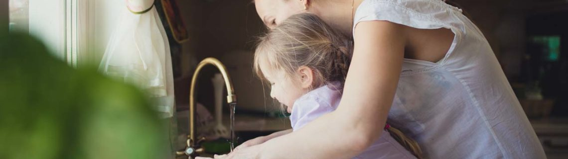 Other consultation services bacterial infections woman and child washing hands