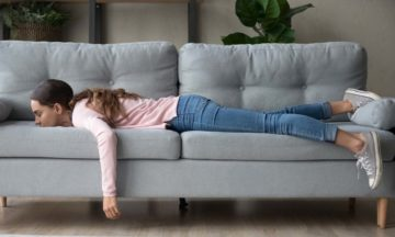 Other consultation services fatigue girl lying on sofa