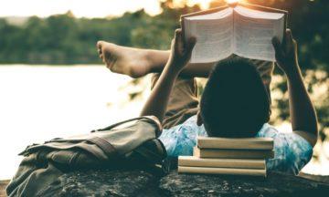 man-leest-boek-bos-zon